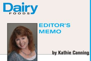 "An image Kathie Canning with the words ""Dairy Foods: Editor's Memo"" in blue above."