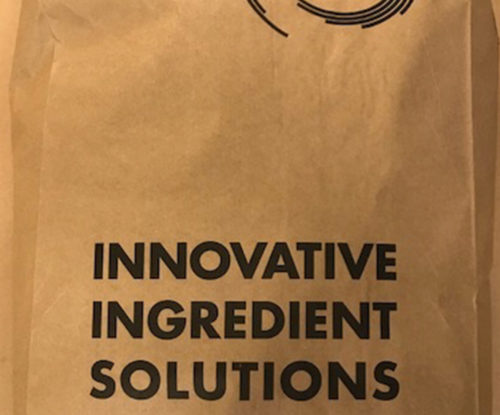 "A 50-pound paper bag, used to transport flavoring powders, with the DairiConcepts logo and the words ""Innovative ingredient solutions"" written on it."