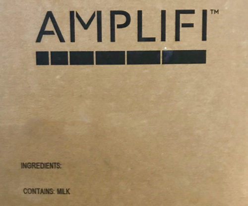 """Brown paper packaging with the words """"DairiConcepts"""" and """"Amplifi"""" written on the front."""
